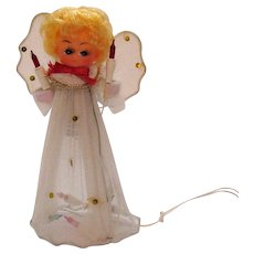 Vintage Lighted Angel Christmas Tree Topper Original Box 1970s Good Condition