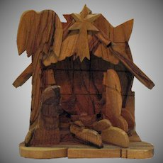 Vintage Hand Carved Olive Wood Nativity Scene 1970s