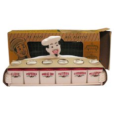 Vintage Hard Plastic Chef Master Spice Set Original Box Never Used Excellent Condition