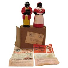 Vintage Aunt Jemima & Uncle Mose S&P Shakers 1950s Original Box & Advertising