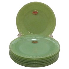 Vintage 5 Anchor Hocking Fire King Jadeite Salad Plates Jane Ray Pattern 1940-60s Excellent Condition Never Used