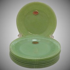 Vintage 6 Anchor Hocking Fire King Jadeite Salad Plates Jane Ray Pattern 1940-60s Excellent Condition Never Used