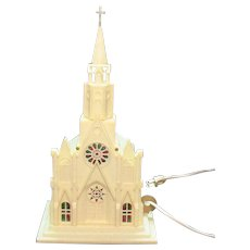 Vintage Hard Plastic Lighted Church 1960s Works Vintage Condition