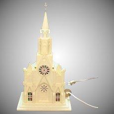 Vintage Hard Plastic Lighted Church 1960s Works Vintage Condition