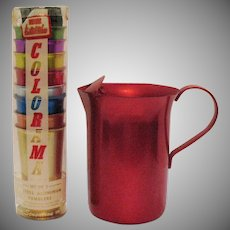 Vintage Never Used Anodized Pitcher & 8 Tumblers 1950-60s Excellent Condition