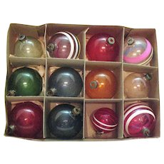 12 Unsilvered Glass Christmas Tree Ornaments War Years Good Vintage Condition