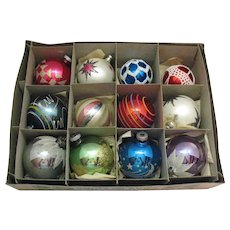 12 Vintage Large Glass Christmas Tree Ornaments 1930-50s Good Vintage Condition
