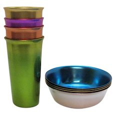 Vintage Anodized Aluminum Breakfast Bowls & Tumblers 1950-60s Made in Italy Never Used Condition