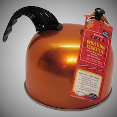 Vintage Heller Hostess-Ware Anodized Aluminum Whistling Teakettle 1950-60s Never Used Condition