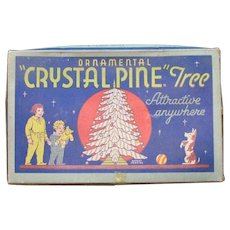Vintage Crystal Pine Tree Table Center Piece 1930-40s Original Box Good Vintage Condition