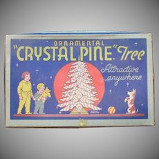 Vintage Crystal Pine Tree Table Center Piece 1930-40s Original Box Good Vintage Condition