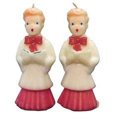 Vintage 2 Choir Boys Gurley Novelty Co. Candles 1950-60s Never Used
