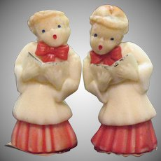 Two Vintage Choir Boys Gurley Novelty Co. Candles Necks Bent 1950-60s