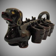 Vintage 1950s Novelty Dachshund Dog Decanter & 6 Cups Glazed Red Clay Good Condition