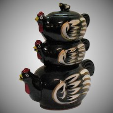Vintage Stacked Tea Set Chicken Figures Glazed Red Clay 1950s Good Condition