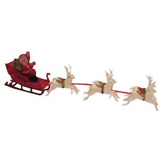 Vintage Plastic Santa Sled Reindeer Made in Hong Kong 1950s Vintage Condition