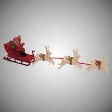 Vintage Plastic Santa Sled Reindeer Made in Hong Kong 1950s Vintage Condition
