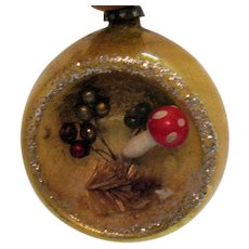 Vintage Mid-Century Japan Diorama Indented Christmas Tree Ornament
