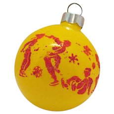 Vintage Glass Christmas Tree Ornament Featuring Stenciled Skaters 1950s
