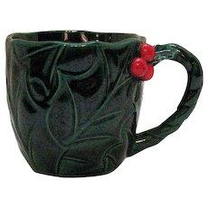 Nine Vintage Lefton Green Holly Mugs #1366 1960-70s Good Condition