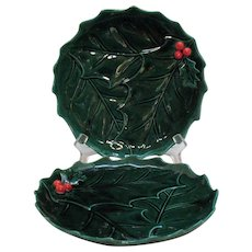 Vintage Hard To Find Lefton #2048 Luncheon Plates Green Holly Pattern 1960-70s Good Condition