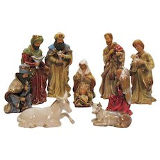 Vintage 10 Pcs. Porcelain/Ceramic Nativity Display Large Pieces 1970s Good Condition