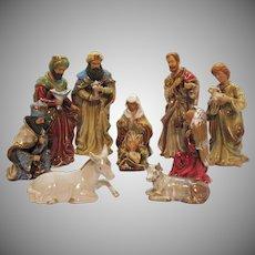 Vintage 10 Pcs. Porcelain/Ceramic Nativity Display Large Pieces 1970s Good Condition