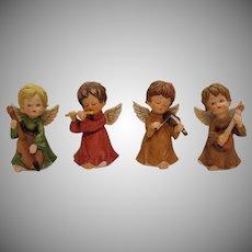 Four Vintage Porcelain/Ceramic Musical Angels 1970s Good Condition