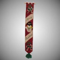 Vintage Folk Art Christmas Greeting Wall Hanging 1960s Good Condition