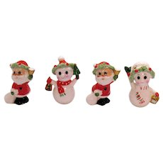 Four Vintage Napco Bone China Christmas Figurines Santa & Snowmen 1960s Good Condition