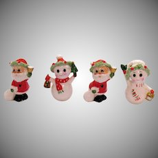 Four Vintage Napco Bone China Christmas Figurines Santa & Snowmen 1960s Good Condition
