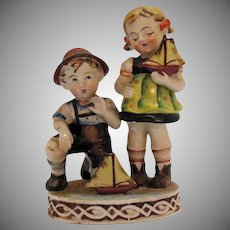 Vintage Occupied Japan Figurine of Boy and Girl with Boats 1946-51 Good Condition