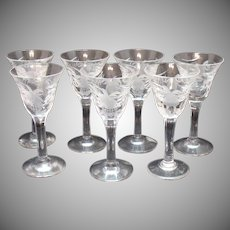 Vintage 7 Cordials Cutting & Acid Etched Good Condition