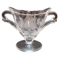 Vintage Small Heisey Individual Glass Sugar Bowl Heisey Rose Etching 1949-57 Good Condition