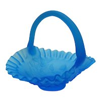 Vintage Satin Glass Blue Basket with Handle Good condition