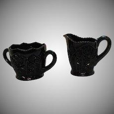 Vintage Indiana Glass Black Sugar & Creamer Set by Tiara Monarch Fine Cut #123 Pattern 1975 Good Condition