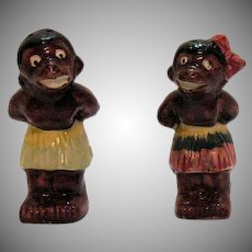 Vintage Black African Natives Ceramic S&P Shakers 1950s Good Condition