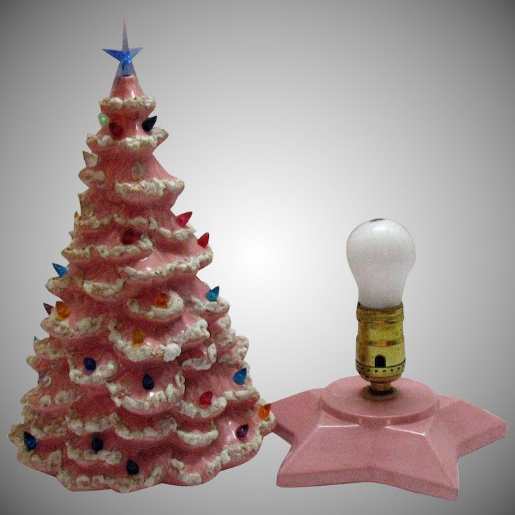 vintage 1950s pink ceramic christmas tree with lighted base faux plastic lights