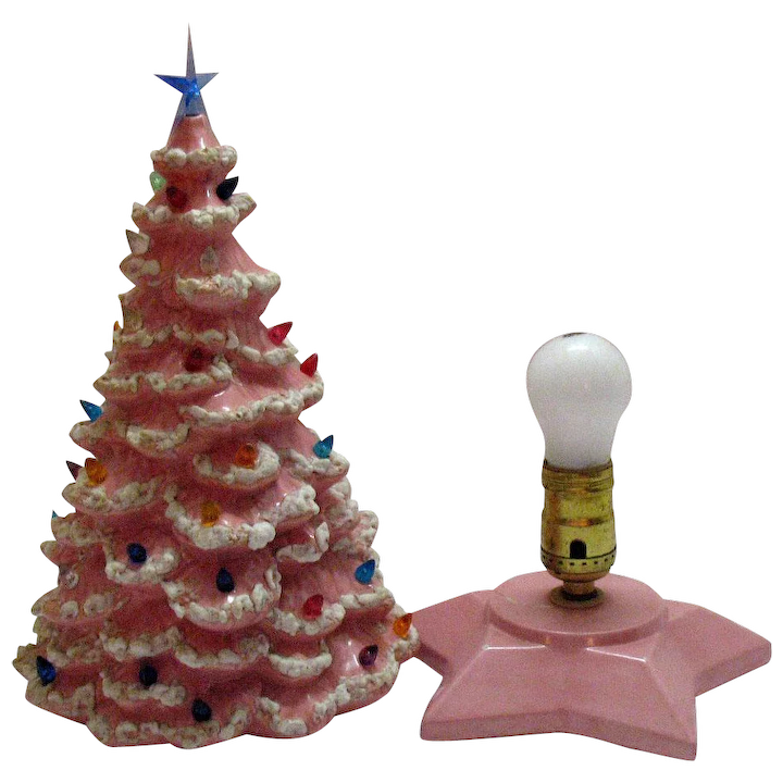 Ceramic Christmas Tree With Lights.Vintage 1950s Pink Ceramic Christmas Tree With Lighted Base Faux Plastic Lights