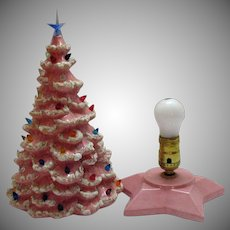 Vintage 1950s Pink Ceramic Christmas Tree with Lighted Base & Faux Plastic Lights