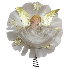 Vintage Folk Art Scrap Angel & Santa Christmas Tree Topper 1940s Good Vintage Condition