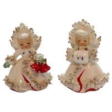 Vintage Holt Howard Ceramic Christmas Angel Candleholders 1958 Good Condition