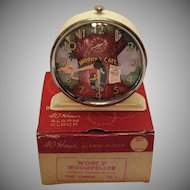 Vintage Woody Wood Pecker Alarm Clock Original Box 1959 Very Good Condition Needs New Spring