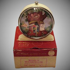 Vintage Woody Wood Pecker Alarm Clock Original Box 1959 Very Good Condition Needs New Spring