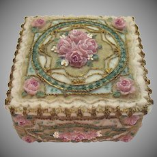 Vintage Porcelain Trinket/Pin Box Embossed Roses Hand Painted 1970-80s Good Condition