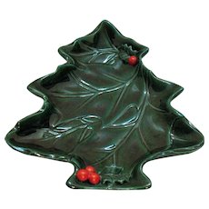 Vintage Lefton Green Holly 8 Inch Tree Shaped Dish 1960-70s
