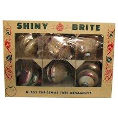 Vintage Shiny Brite 6  Glass Christmas Tree Ornaments