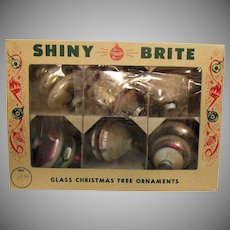 Vintage Shiny Brite 6 Unsilvered Glass Christmas Tree Ornaments
