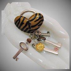 Vintage Figural Zebra Strip Puff Heart Pad Lock Key Charm Brooch
