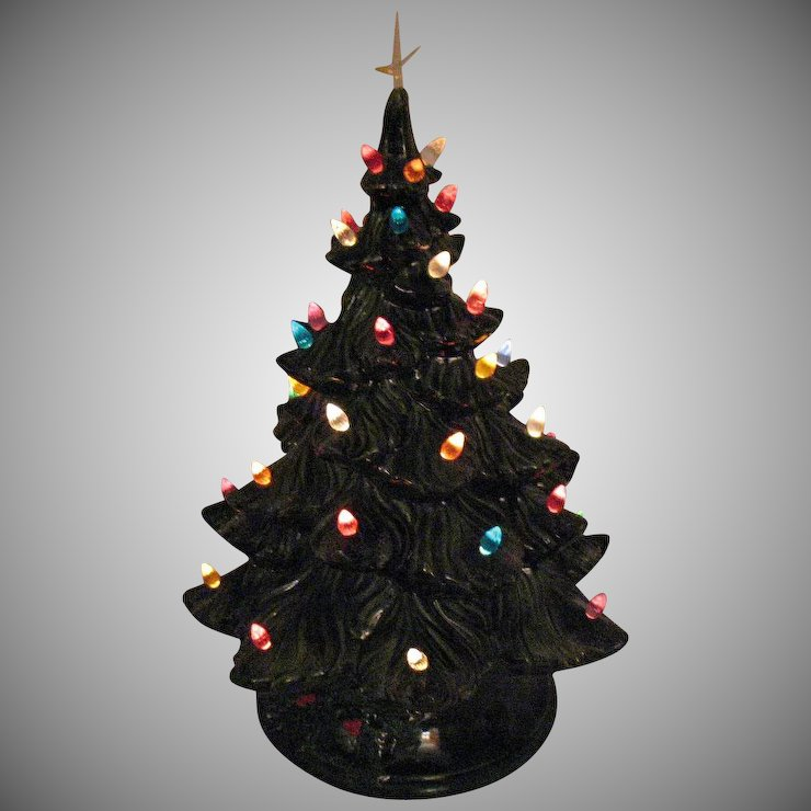 vintage atlantic mold ceramic christmas tree faux plastic lights lighted base good condition